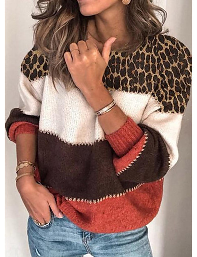 cheap Sweaters & Cardigans-Women's Basic Knitted Leopard Cheetah Print Pullover Long Sleeve Loose Sweater Cardigans Crew Neck Round Neck Fall Winter Red Gray