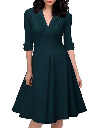 abordables Robes de Soirée-Femme Robe Trapèze Robe Longueur Genou - Demi Manches Couleur unie Printemps Eté Col en V Travail Mince 2020 Vert S M L XL XXL
