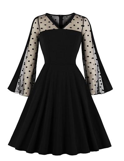 cheap NEW IN-Women's Swing Dress Knee Length Dress - Long Sleeve Polka Dot Color Block Fall Casual 2020 Black S M L XL XXL