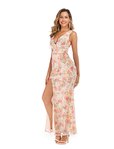 cheap Maxi Dresses-Women's Sheath Dress Maxi long Dress - Sleeveless Floral Sequins Split Summer V Neck Sexy Party Slim 2020 Blushing Pink S M L XL