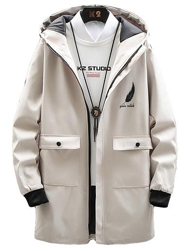 cheap Men's Outerwear-Men's Hooded Jacket Long Solid Colored Daily Streetwear Long Sleeve Black Army Green Navy Blue US34 / UK34 / EU42 US36 / UK36 / EU44 US38 / UK38 / EU46