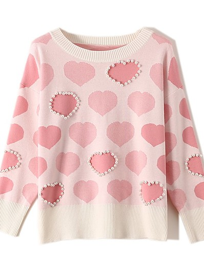 cheap Sweaters & Cardigans-Women's Basic Knitted Geometric Sweater Long Sleeve Loose Sweater Cardigans Crew Neck Round Neck Fall Blue Blushing Pink