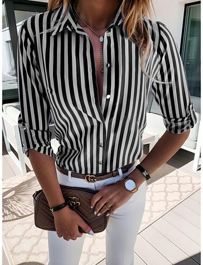 cheap Blouses & Shirts-Women's Striped Blouse Shirt Striped Patchwork Shirt Collar Basic Tops Blue Red Black