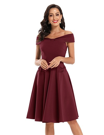 cheap Party Dresses-Women's A-Line Dress Knee Length Dress - Sleeveless Solid Color Bow Summer Off Shoulder Sexy Party Slim 2020 Black Wine Army Green Navy Blue S M L XL XXL