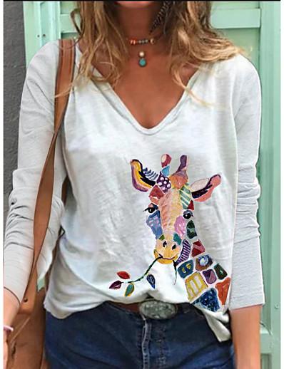 abordables Tee-shirts pour Femme-Femme Tee-shirt Girafe Manches Longues Imprimé Col en V Hauts Ample Coton basique Haut de base Blanche Bleu Rose Claire
