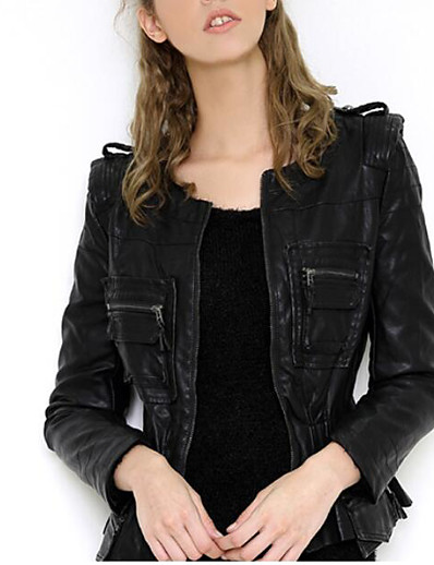cheap Furs & Leathers-Women's Zipper Faux Leather Jacket Regular Solid Colored Party Punk & Gothic Tassel Fringe Black L XL XXL 3XL / Rivet / Club / Slim