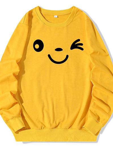 cheap Hoodies & Sweatshirts-Women's Pullover Sweatshirt Graphic Daily Casual Hoodies Sweatshirts  White Black Blue