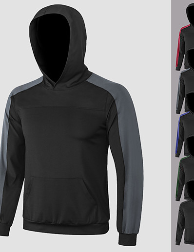 cheap Running, Jogging & Walking-YUERLIAN Men's Long Sleeve Hoodie Sweatshirt Patchwork Top Athletic Athleisure Winter Moisture Wicking Quick Dry Breathable Fitness Gym Workout Performance Running Training Sportswear Black / Red
