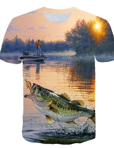 cheap Men's 3D-Men's T shirt Shirt Graphic 3D Plus Size Print Tops Round Neck Blue