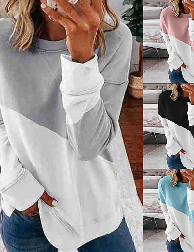cheap Sports Athleisure-Women's Sweatshirt Pullover Patchwork Crew Neck Color Block Sport Athleisure Sweatshirt Top Long Sleeve Warm Soft Oversized Comfortable Everyday Use Causal Exercising General Use / Winter