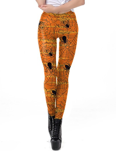 cheap Bottoms-Women's Basic Comfort Slim Daily Tights Pants Print Full Length Print High Waist Orange