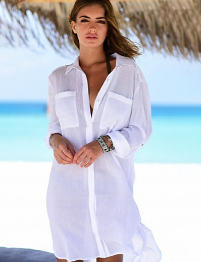 cheap Casual Dresses-Women's Sexy Cover-Up Swimsuit Pocket Solid Colored Swimwear Bathing Suits White Black Light Green / Padless