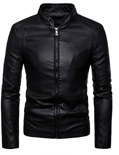 cheap Men's Outerwear-Men's Stand Collar Winter Faux Leather Jacket Regular Solid Colored Daily Streetwear Long Sleeve Faux Leather Black Wine Camel XL XXL XXXL