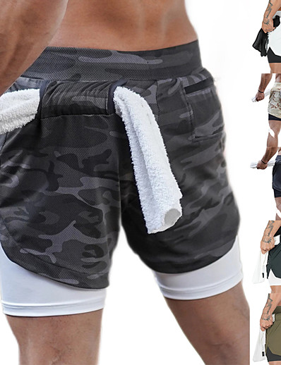 cheap Running, Jogging & Walking-Men's 2 in 1 Running Shorts Athletic Bottoms Liner Towel Loop Fitness Gym Workout Running Jogging Trail Quick Dry Breathable Soft Sport Dark Grey White Black Khaki Army Green Gray / Stretchy