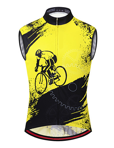 cheap SPORTSWEAR-21Grams Men's Sleeveless Cycling Jersey Cycling Vest Black / Yellow Bike Vest / Gilet Jersey Mountain Bike MTB Road Bike Cycling Breathable Quick Dry Anatomic Design Sports Clothing Apparel