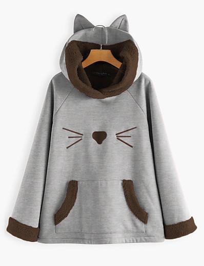 cheap Hoodies & Sweatshirts-Women's Hoodie Pullover Cartoon Front Pocket Cat Ear Daily non-printing Basic Hoodies Sweatshirts  Loose Oversized Blushing Pink Gray Red