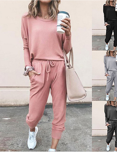 cheap Two Piece Set-Women's Tracksuit Sweatsuit 2 Piece Set Pullover Black Pink Drawstring Pocket Loose Fit Minimalist Crew Neck Solid Color Cute Sport Athleisure Sweatshirt and Pants Outfits Clothing Suit Long Sleeve