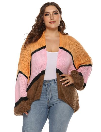 abordables Pulls & Gilets Grandes Tailles Femme-Femme Cardigan Rayé Bloc de Couleur Fibres acryliques énorme Grandes Tailles Manches Longues énorme Pull Cardigans Automne Hiver Col en V Orange