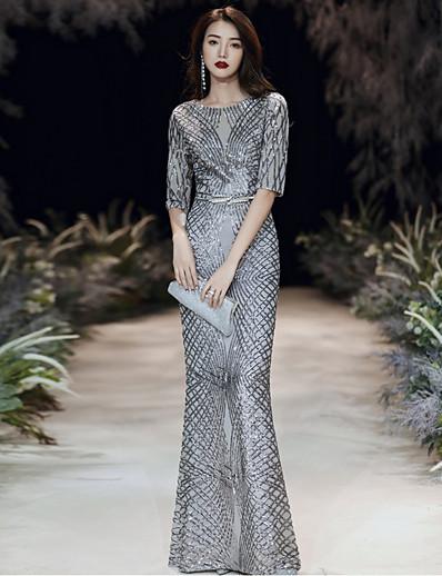 cheap DRESSES-Women's A-Line Dress Maxi long Dress - Half Sleeve Solid Color Patchwork Summer Elegant Party 2020 Light gray S M L XL XXL