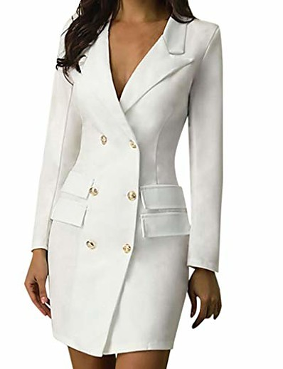 cheap Elegant Dresses-Women's Single Breasted Two-button Notch lapel collar Blazer Solid Colored White / Black S / M / L