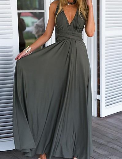 cheap Elegant Dresses-Women's A-Line Dress Maxi long Dress - Sleeveless Solid Color Print Summer V Neck Casual Daily Slim 2020 Gray S M L XL