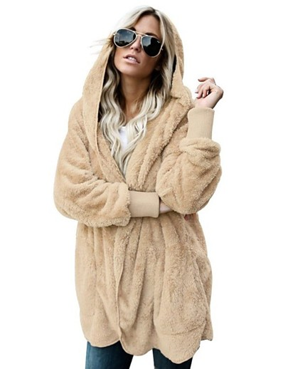 cheap OUTERWEAR-Women's Teddy Coat Regular Solid Colored Daily Basic White Black Blue Blushing Pink S M L XL / Loose