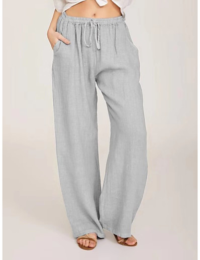 cheap Bottoms-Women's Loose Daily Weekend Chinos Pants Solid Colored Full Length Black Dusty Blue Gray