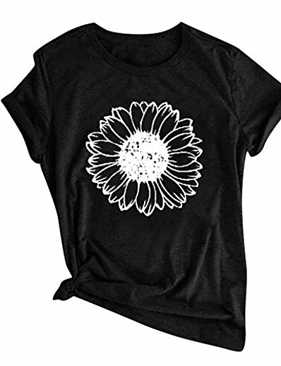 cheap TOPS-Women's T-shirt Floral Flower Sunflower Round Neck Tops 100% Cotton Casual Basic Top White Black Yellow