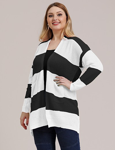 cheap Plus Size Sweaters-Women's Striped Patchwork Basic Fall & Winter Sweater Coat Regular Daily Long Sleeve Polyester Coat Tops Black