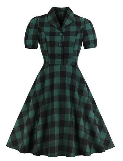 cheap HALLOWEEN 2020-Women's Swing Dress Knee Length Dress - Short Sleeve Plaid Summer V Neck Elegant Daily 2020 Green S M L XL XXL
