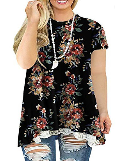 cheap Plus Size Tops-plus size tops for women floral lace hem flowying loose tunics blouses l 4x 26w