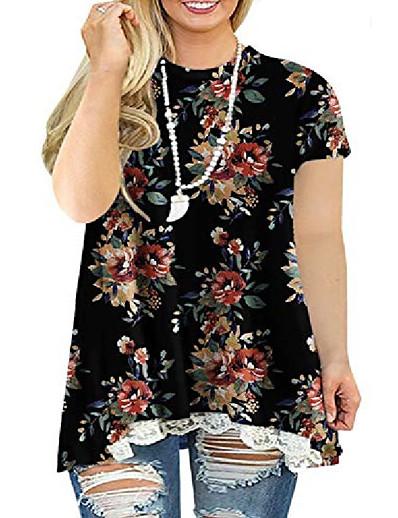 cheap Plus Size Tops-plus size tops for women floral lace hem flowying loose tunics blouses l 4x 26w