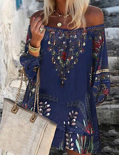 cheap Boho Dresses-Women's A-Line Dress Knee Length Dress - Long Sleeve Print Print Summer Off Shoulder Casual Boho Daily Weekend Loose 2020 Blue Wine S M L XL XXL XXXL