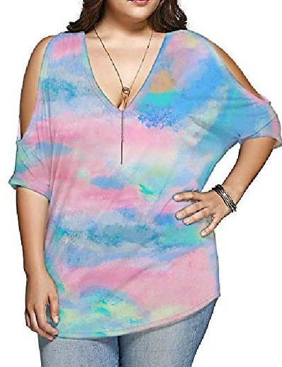 cheap Plus Size Tops-women plus size tops v neck short sleeve batwing top cold shoulder t shirt p109 tie dye bright blue 1x