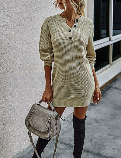 cheap Sweater Dresses-Women's Stylish Knitted Solid Colored Dress Acrylic Fibers Long Sleeve Loose Sweater Cardigans Crew Neck Round Neck Fall Black Orange Green