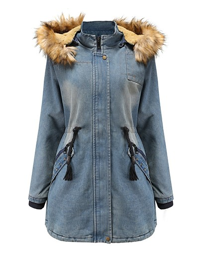 cheap Outerwear-Women's Solid Colored Basic Fall & Winter Denim Jacket Long Daily Long Sleeve Cotton Coat Tops Blue