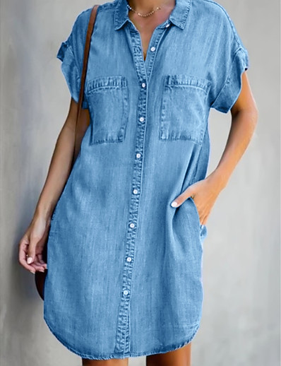 cheap PLUS SIZE-Women's Denim Shirt Dress Short Mini Dress - Short Sleeve Pocket Summer Shirt Collar Casual 2020 Light Blue S M L XL XXL
