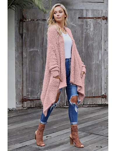 cheap Sweaters & Cardigans-Women's Solid Colored Cardigan Long Sleeve Loose Sweater Cardigans V Neck Fall Winter Black Purple Blushing Pink