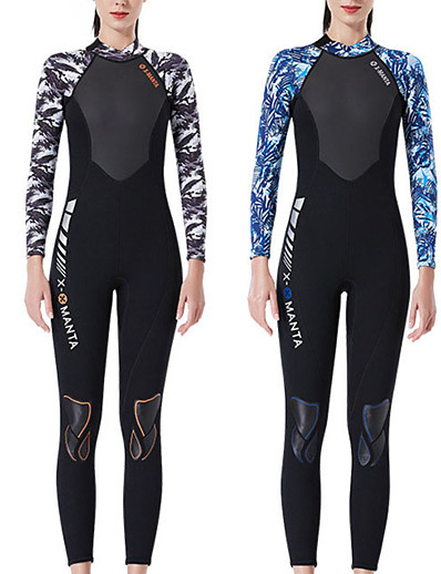 cheap SWIMWEAR-Dive&Sail Women's Full Wetsuit 3mm SCR Neoprene Diving Suit Thermal Warm High Elasticity Long Sleeve Back Zip - Diving Water Sports Patchwork Autumn / Fall Spring Summer