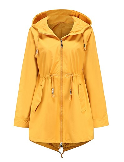 cheap Down& Parkas-Women's Trench Coat Regular Solid Colored Daily Basic Black Yellow S M L XL / Loose