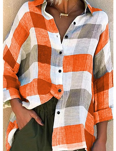 cheap Blouses & Shirts-Women's Blouse Shirt Pattern Plaid Check Long Sleeve Patchwork Print Shirt Collar Tops Loose Basic Basic Top Blue Purple Red