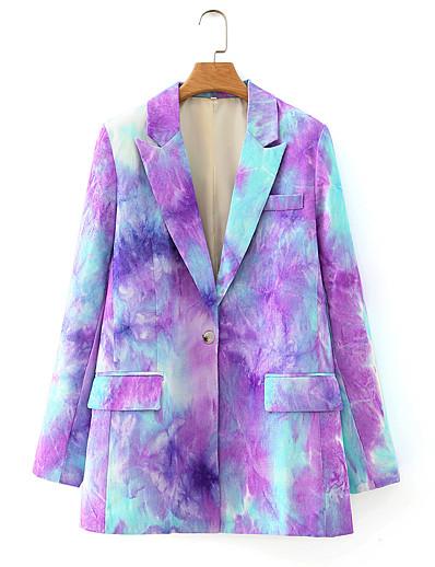 cheap 07/31/2020-Women's Single Breasted One-button Notch lapel collar Blazer Tie Dye Purple / Khaki S / M / L