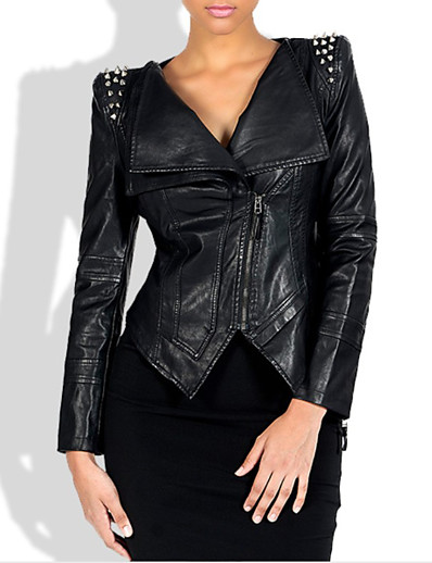 cheap Furs & Leathers-Women's Zipper Faux Leather Jacket Short Solid Colored Daily Punk & Gothic Rivet Black M L XL XXL / Slim