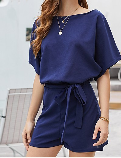 cheap JUMPSUITS & ROMPERS-Women's Basic Black Blue Blushing Pink Romper Color Block Solid Colored Drawstring
