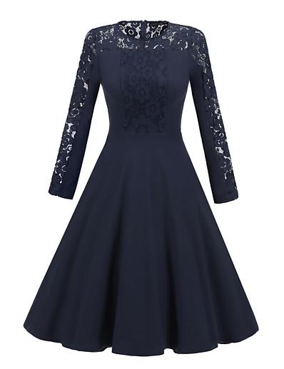 cheap Lace Dresses-Women's A-Line Dress Knee Length Dress - Long Sleeve Solid Color Lace Patchwork Fall Sexy Party Slim 2020 Black Navy Blue S M L XL XXL