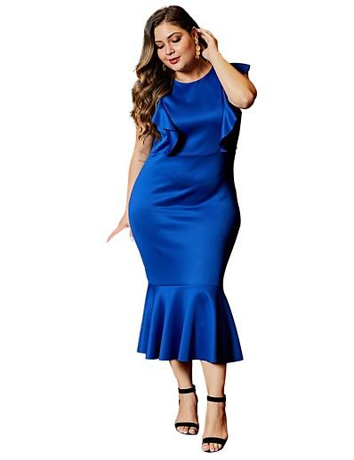 cheap PLUS SIZE-Women's Shift Dress Midi Dress - Sleeveless Solid Color Print Summer Casual Daily Holiday 2020 Black Blue XL XXL XXXL XXXXL XXXXXL