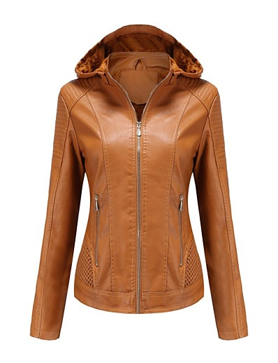 cheap Outerwear-Women's Faux Leather Jacket Solid Colored Basic Fall & Winter Regular Daily Long Sleeve Faux Leather Coat Tops Black