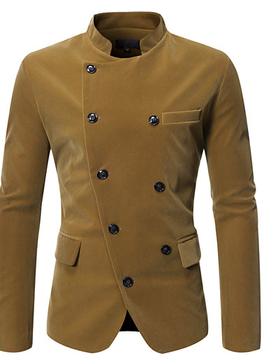 cheap Men's Outerwear-Men's Double Breasted Stand Collar Blazer Solid Colored Velvet Black / Wine / Brown M / L / XL