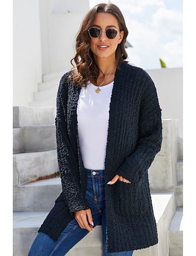 cheap Sweaters & Cardigans-Women's Solid Colored Cardigan Long Sleeve Loose Sweater Cardigans V Neck Fall Winter White Black Blue