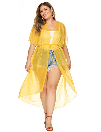 cheap Cover Ups-Women's Cover Up Swimsuit Drawstring White Yellow Plus Size Swimwear Bathing Suits Fashion
